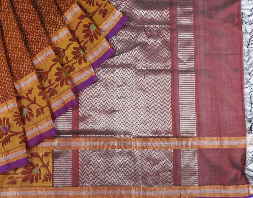 Mangalgiri Silk  Heavy Sicco Saree In Brown