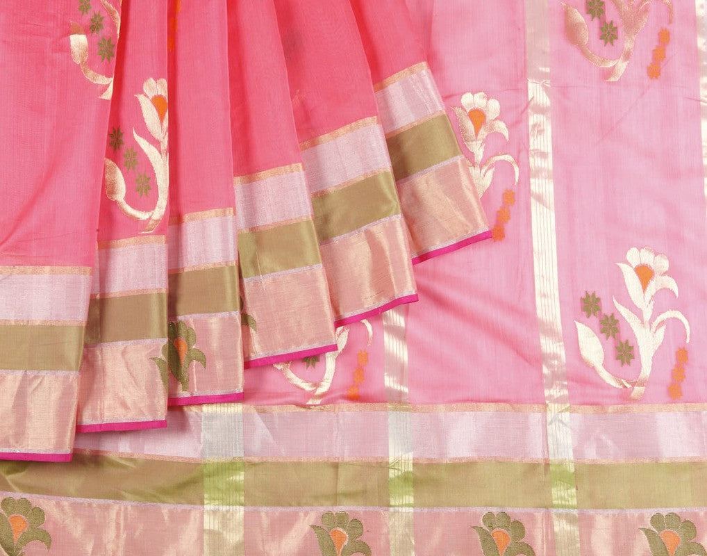Chanderi Silk Cotton Saree In Rouge Pink