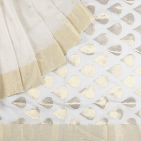 Chanderi Silk Cotton Saree In White