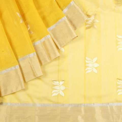 Chanderi Silk Cotton Saree In Sunflower Yellow