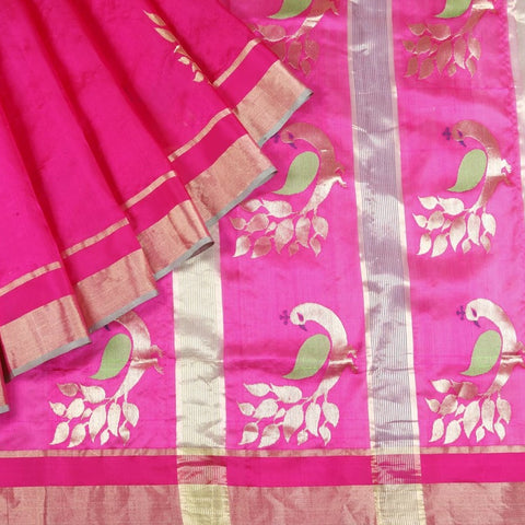 Chanderi Silk Saree In Pink