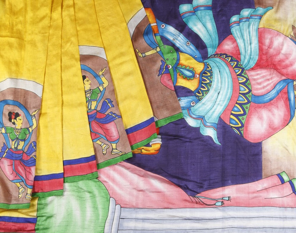 Bishtupur Silk Saree In Yellow