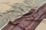 Brown Beige Bapta Cotton Dupatta with handpainted Tribal art