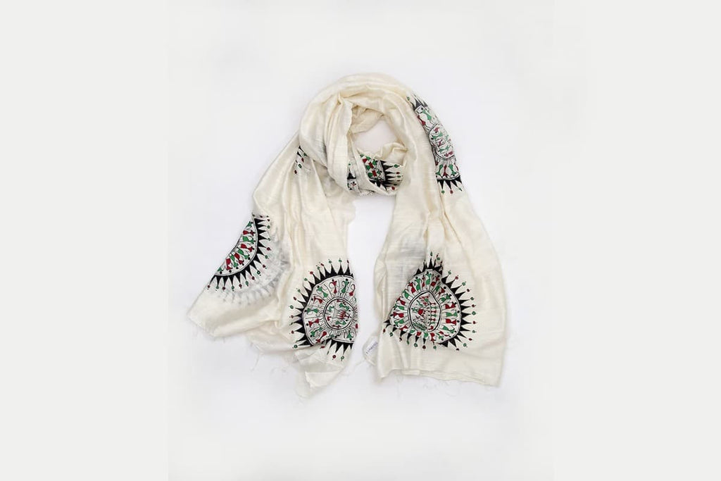 Orissa Chanderi Cotton white Tribal art  Dupatta with Saura Motif