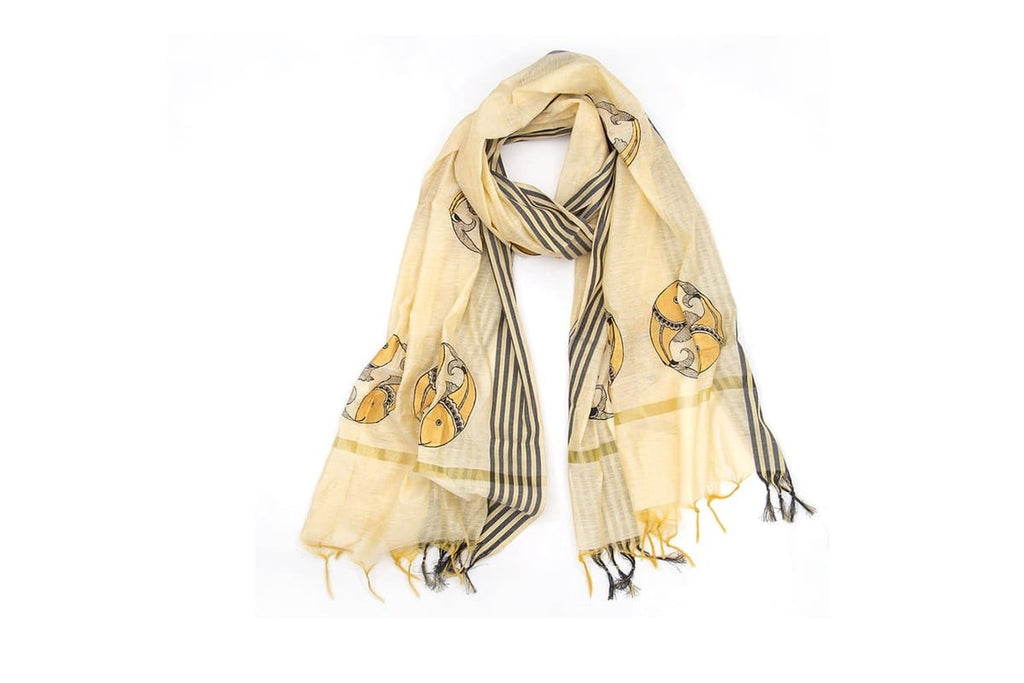 Orissa Chanderi Cotton cream Tribal art  Dupatta with Saura Motif