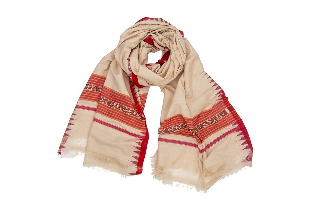 Orissa Bapta Cotton cream sambalpuri  Dupatta with plain body with temple border Motif