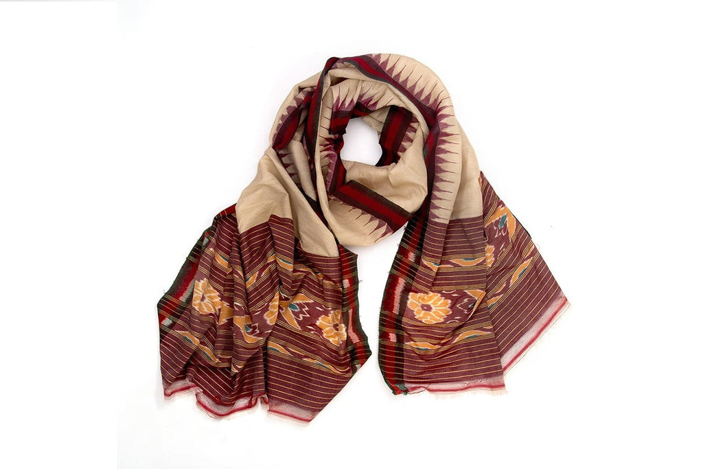 Orissa Bapta Cotton beige sambalpuri art  Dupatta with plain body with temple border Motif
