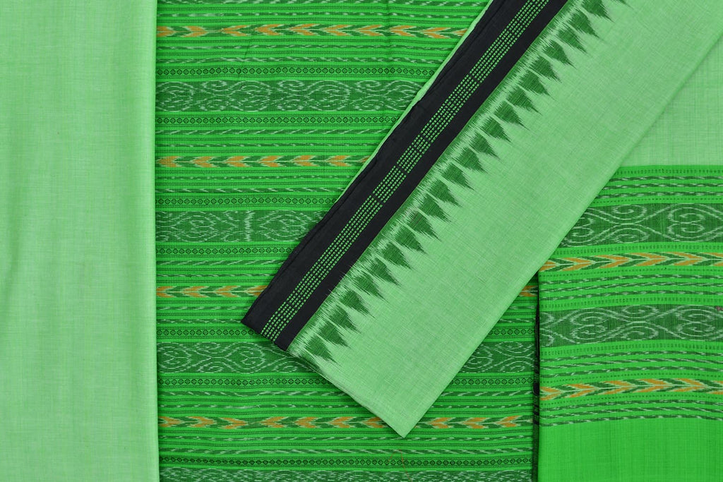 cotton green Unstitched Handloom Dress Material with Dupatta