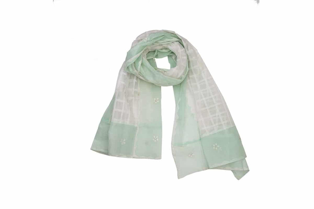 Orissa Cotton white and light green Applique or patch work  Dupatta with checks and flowery Motif
