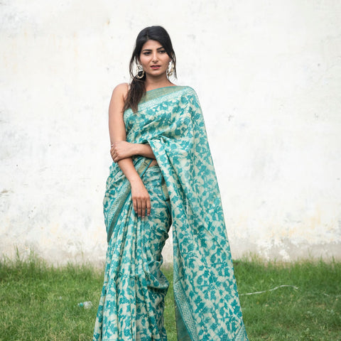 Handloom Tussar Silk Saree Dabu Green Saree