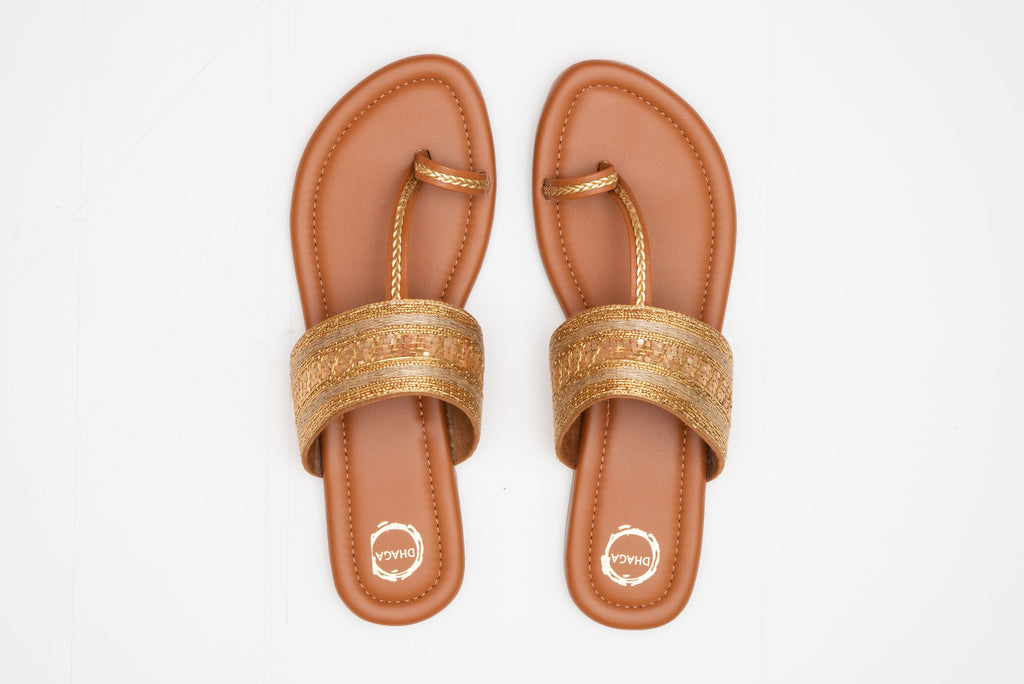 Handcrafted Brown And Gold Flat Kolhapuri
