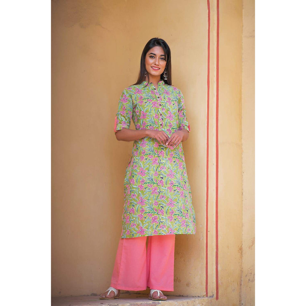 Green hand block Print Cambric Straight Pant Kurta Set