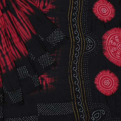 bandhani red and black banarasi silk shibori Saree