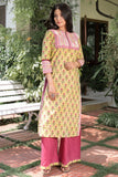 Hand Block Lime Yellow Cambric Kurta Palazzo Set
