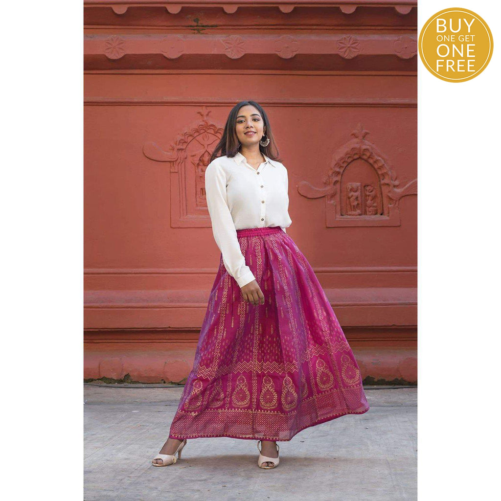 White Modal Shirt And Pink Skirt With Gold Block Prints