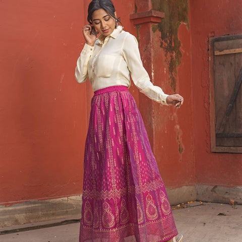 Gold Hand Block Printed Pink Skirt