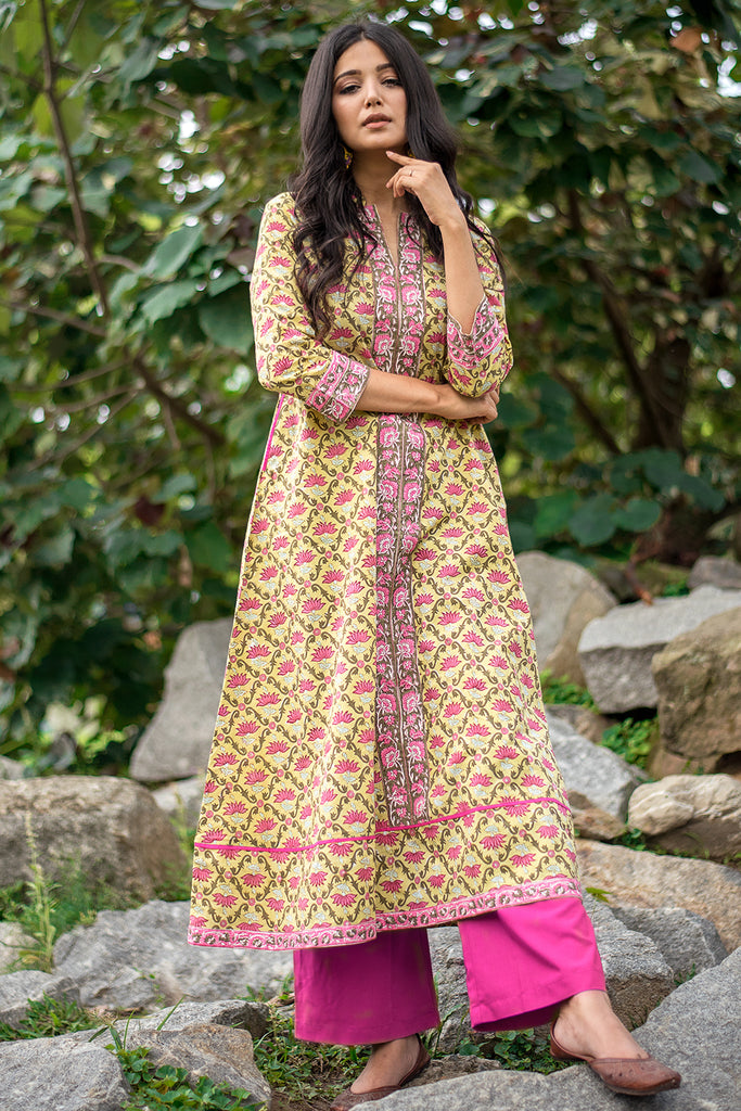 Hand Block Lime Yellow Cambric Kurta
