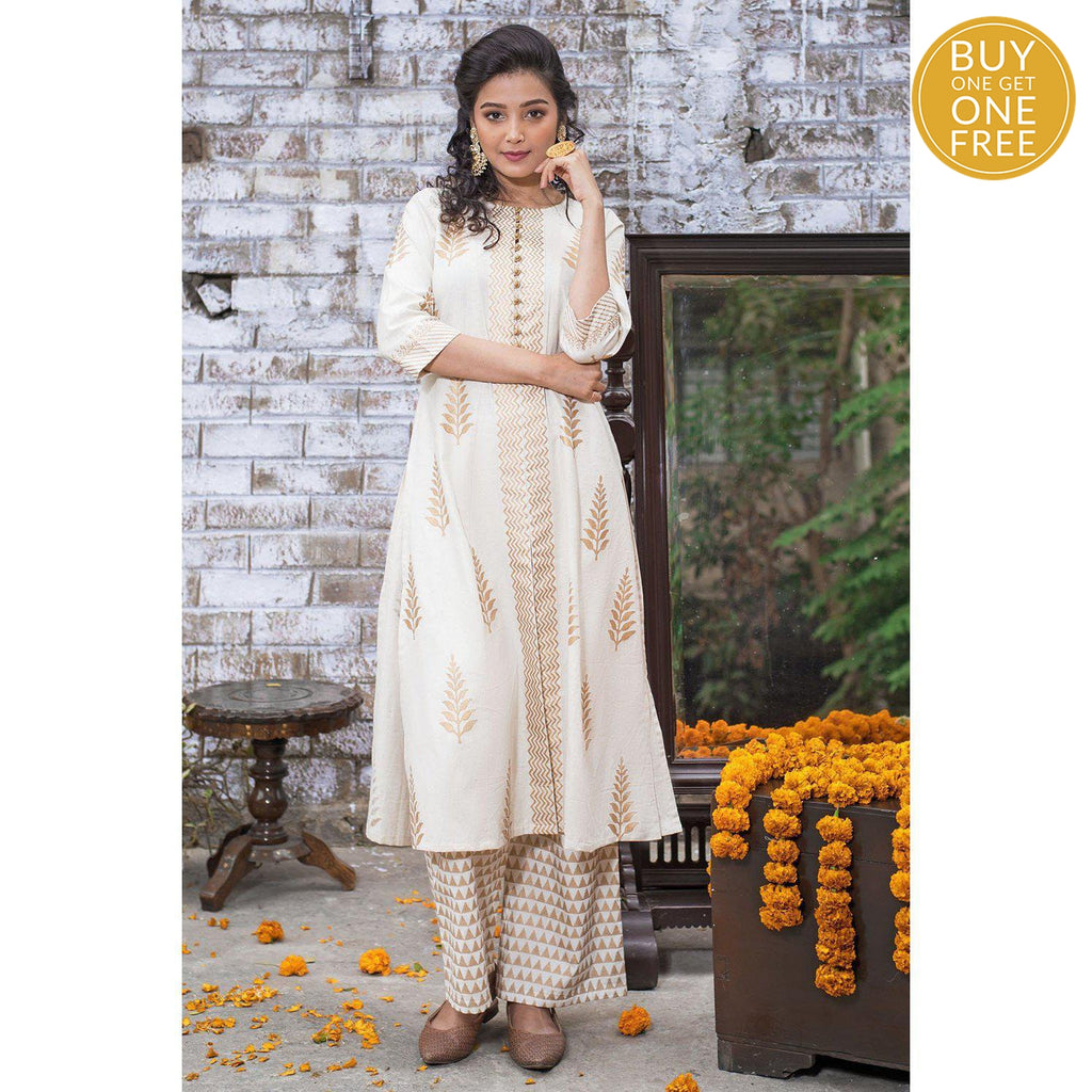 White Hand Block Fern Butta Cotton Flex Kurta Set