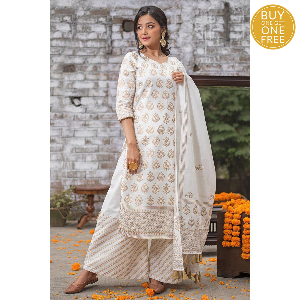 White Hand Block Paan Motif Cambric Suit Set
