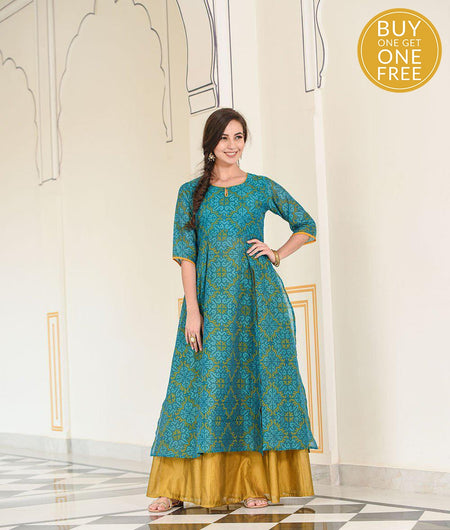 teal panel kurta with 20 kali skirt