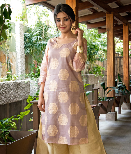 Handloom Pastel Pink Regular Chanderi Kurta