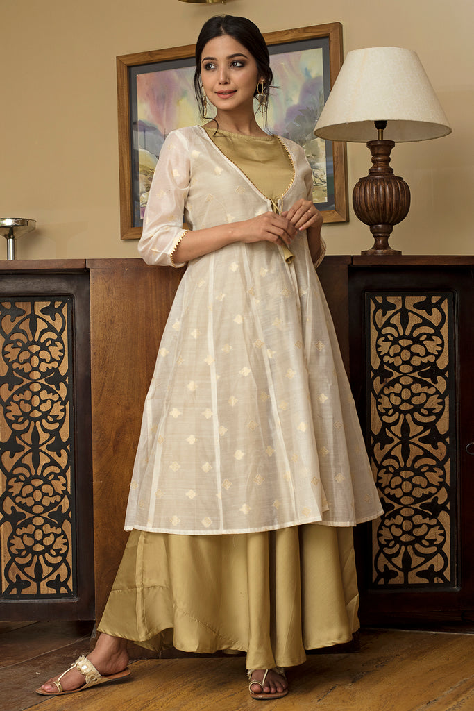 Handloom Off White Relaxed Chanderi Dress