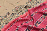 Beige Beige Tussar Silk Dupatta with handpainted Tribal art