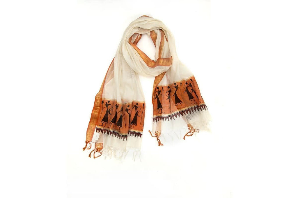 Orissa Maheswari Silk white and orange Tribal art  Dupatta with saura Motif