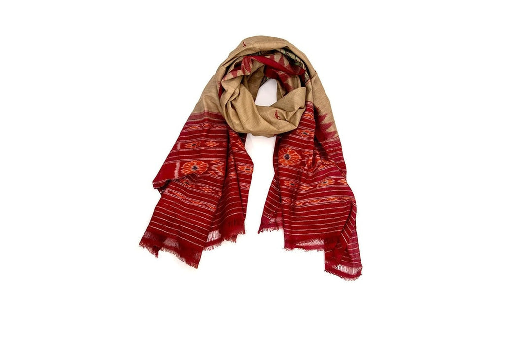 Orissa Tussar Silk beige and red sambalpuri  Dupatta with tribal art Motif