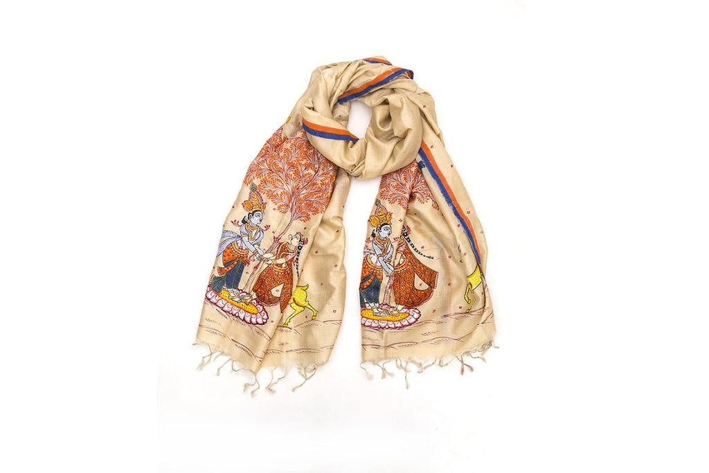 Orissa Tussar Silk cream pattchitra  art  Dupatta with Radha krishna Motif