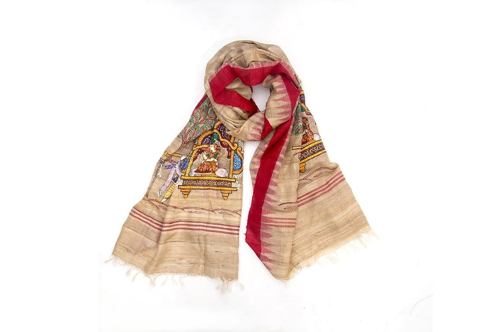 Orissa Ghicha Tussar Silk beige pattchitra  art  Dupatta with palakhi of princess Motif