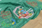 Green Tussar Ghicha Silk Dupatta with handpainted Pattachitra art