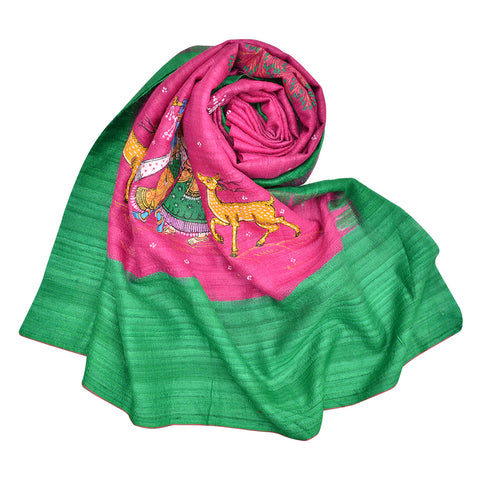 Rani Pink Tussar Ghicha Silk Dupatta with handpainted Pattachitra art