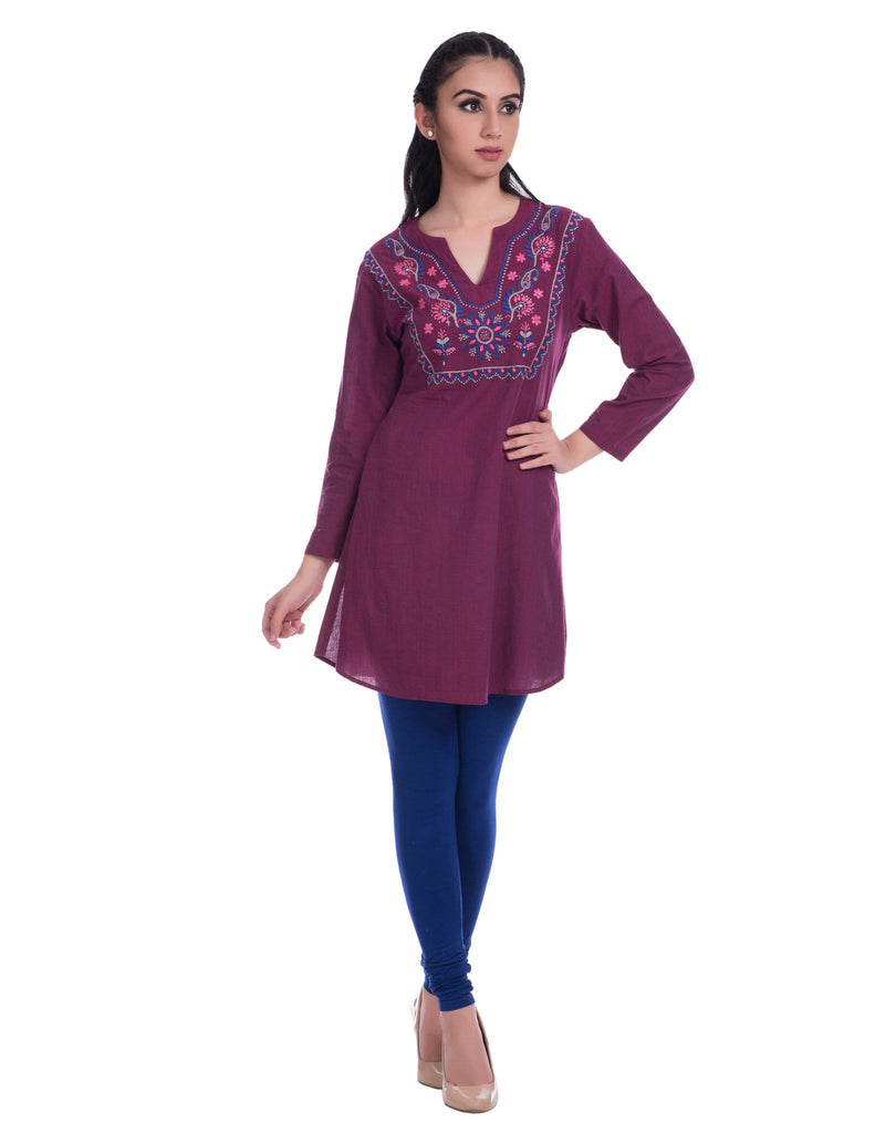 Chikankari Embroidery Purple Mangalgiri Cotton Kurti