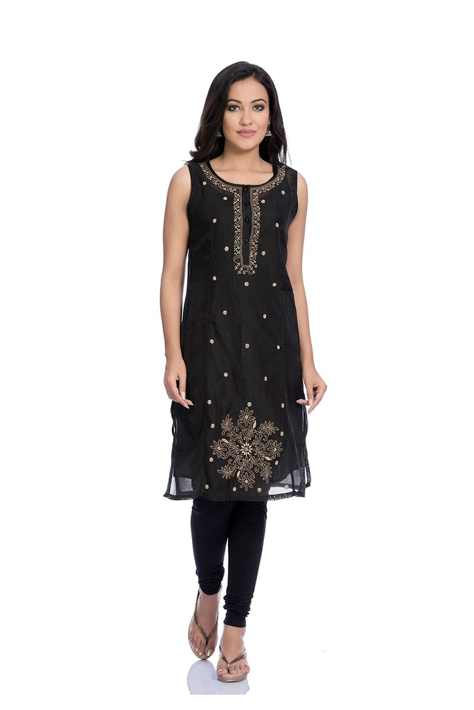 Chikankari Embroidery Black Cambric Kurta