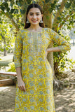 Hand Block Yellow Green and White Cotton Kurta Palazzo and Dupatta Set