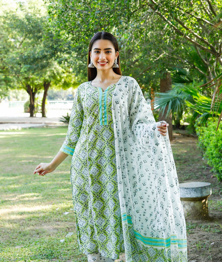 Hand Block Green and White Cotton Kurta Palazzo and Dupatta Set