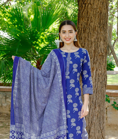 Hand Block Indigo Blue Cotton Kurta Palazzo and Dupatta Set