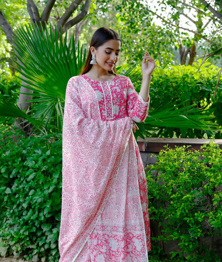 Hand Block White and Pink Cotton Kurta Palazzo and Dupatta Set