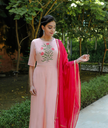 Solid Pink Rayon Slub Kurta Palazzo and Dupatta Set
