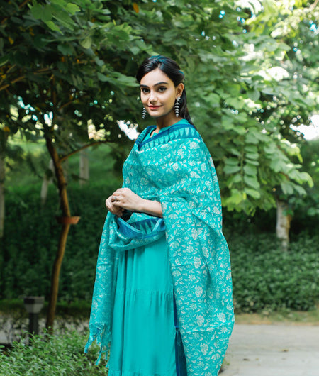 Hand Block Green Rayon Kurta and Dupatta Set