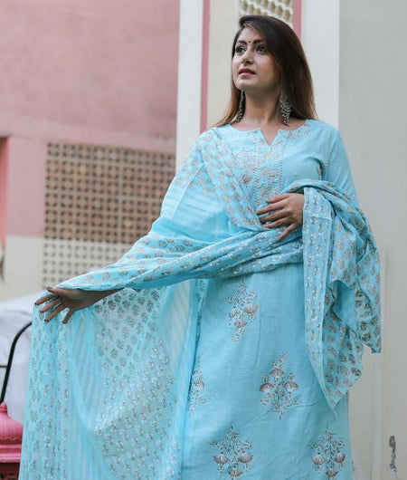 Hand Block Blue Rayon Slub Kurta Palazzo and Dupatta Set
