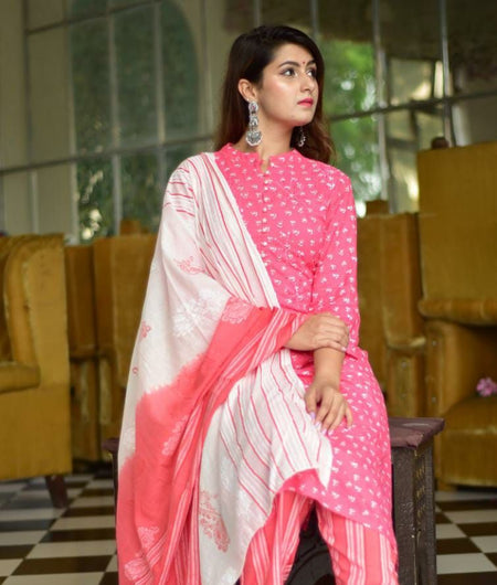 Hand Block Pink and White Cotton Kurta Palazzo and Dupatta Set
