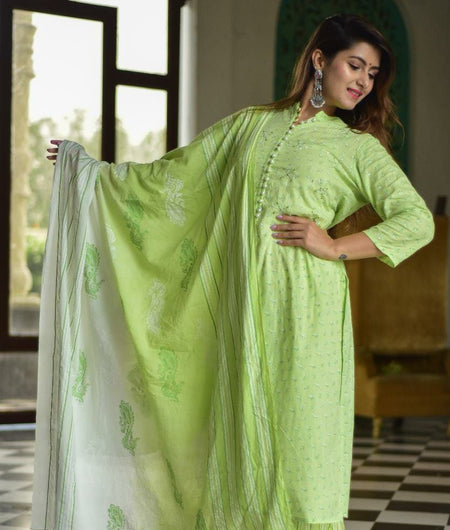 Hand Block Green and White Rayon Slub Kurta Palazzo and Dupatta Set