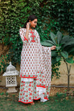 Hand Block White and Red Cotton Kurta Palazzo Dupatta Set