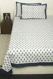 White and black Handblock Printed Cotton Double Bedcover with Pillow Covers (Set of 3)
