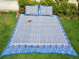 Blue - Multicolor Handblock Printed Cotton Double Bedcover with Pillow Covers (Set of 3)