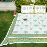 Multicolor Handblock Printed Cotton Double Bedcover with Pillow Covers (Set of 3)