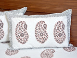 White and Brown Handblock Printed Cotton Double Bedcover with Pillow Covers (Set of 3)
