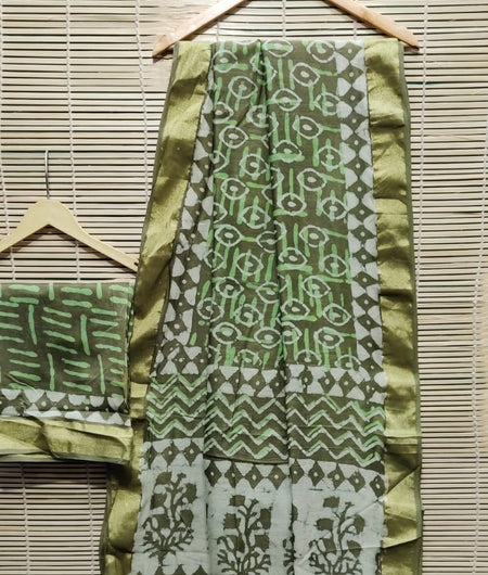 Handcrafted Chanderi Silk Hand Print Green Saree